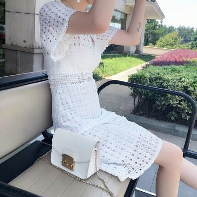 白色蕾丝连衣裙中长款女夏气质2018新款韩版显瘦短袖镂空仙女裙子