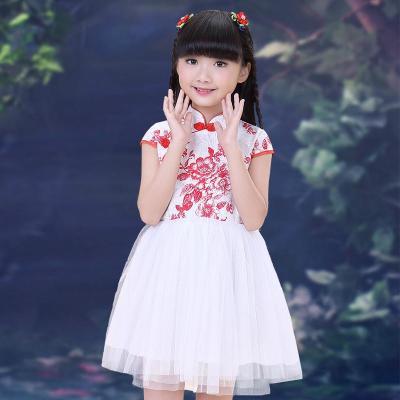 儿童旗袍夏 女童装唐装公主连衣裙 青花瓷民族风合唱古筝演出服装
