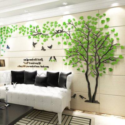 3D立体水晶墙贴情侣树大树亚克力创意客厅沙发餐厅电视背景墙装饰