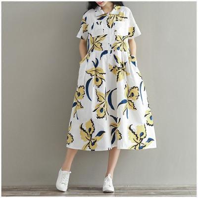孕妇夏装上衣 怀孕期潮妈宽松翻领衬衫短袖连衣裙棉麻长裙女200斤