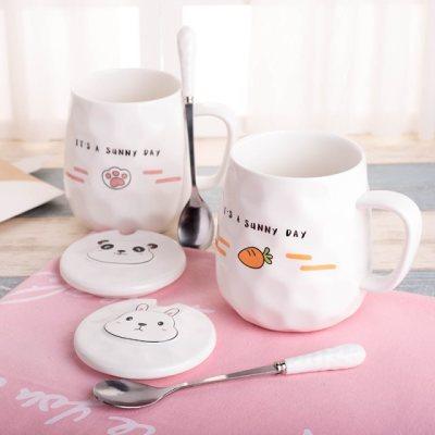创意可爱韩版女学生陶瓷杯子马克杯带盖勺潮流情侣杯一对咖啡水杯