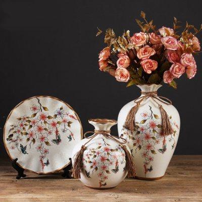 欧式陶瓷花插花瓶家居客厅电视柜三件套花瓶玄关酒柜创意装饰摆件