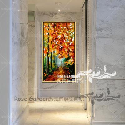 欧式家居壁画 玄关油画 树林风景抽象画有框装饰挂画竖幸福发财树