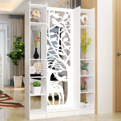 欧式屏风隔断雕花玄关柜镂空简约现代隔断柜客厅白色折屏双面门厅