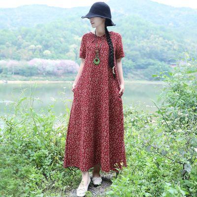 201春装新款民族风女装复古盘扣碎花宽松大码长款短袖棉麻连衣裙
