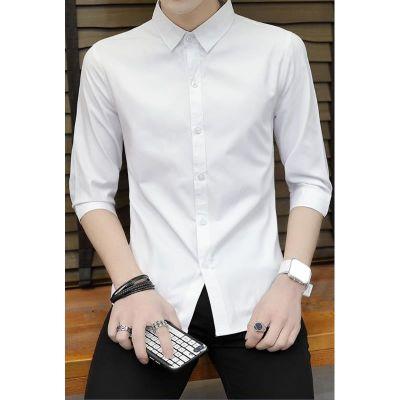 港风七分袖衬衫男短袖韩版修身潮流中袖夏季薄款青少年五分袖衬衣