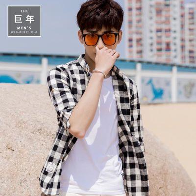 夏季格子衬衫男短袖修身韩版潮流帅气薄款休闲衬衣男青年纯棉寸衫