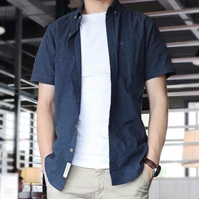 法兰王衬衫男短袖夏季薄款短衬衣服纯棉青年寸休闲韩版修身半袖年