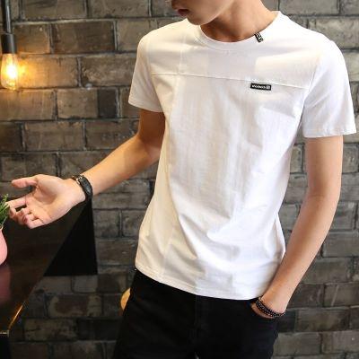 2018夏季男士短袖t恤青少年圆领半袖白体恤潮流男装帅气上衣纯色