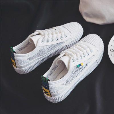 透气小白鞋女鞋夏季2018新款百搭韩版基础平底学生网面镂空帆布鞋