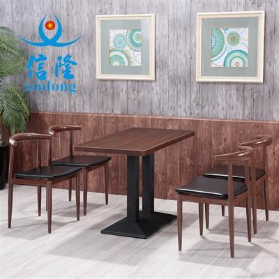 信隆仿实木铁艺牛角椅奶茶甜品店主题餐厅咖啡厅食堂快餐桌椅组合