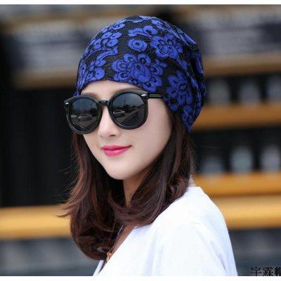 头巾花朵帽女薄针织套头夏花头帽帽韩版套头帽方便头巾帽多色帽子