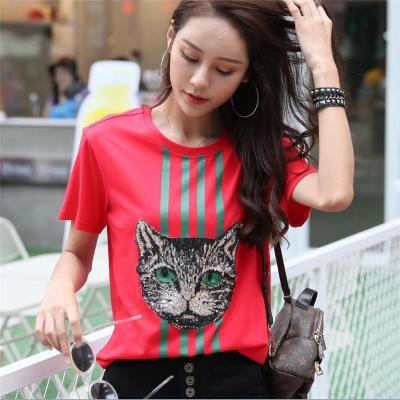 网红同款衣服半截袖女潮t体胖mm红色条纹上衣猫头短袖t恤bf街拍款