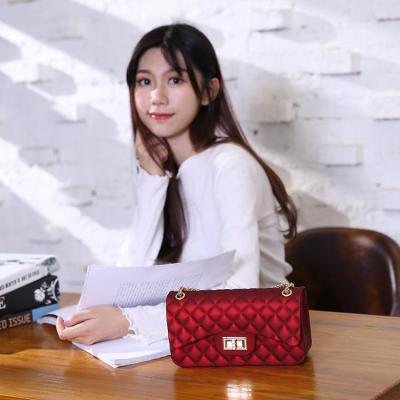 包包女2018新款韩版小香风菱格链条包果冻包ins单肩斜挎包女小包