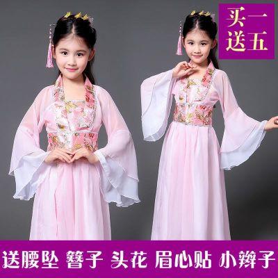 古典粉色女宝宝贵妃裙儿童古装仙女服居家皇后娘娘照片襦裙拍
