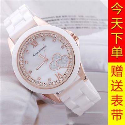 休闲女款手表新款时尚潮流白色陶瓷韩版中学生时装女表防水