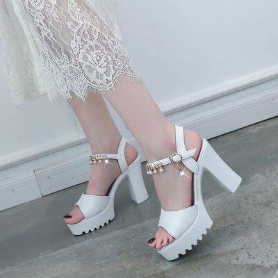 高跟鞋细跟女凉鞋2020夏季新款韩版百搭女鞋防水台鱼嘴一字扣鞋子