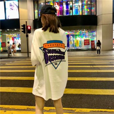 街头嘻哈风短袖t恤学生女大码长款可爱软妹短袖T恤女女式短袖t恤